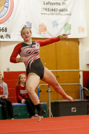 Lafayette Jeff's Julie-Ann Stephany competes on the floor exercise during an IHSAA gymnastics meet, Wednesday, Jan. 22, 2020 in Lafayette.