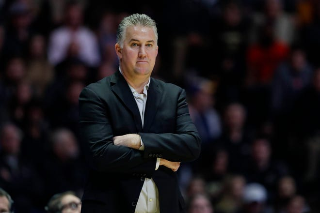 Purdue head coach Matt Painter during the second half of an NCAA college basketball game against Illinois in West Lafayette, Ind., Tuesday, Jan. 21, 2020. Illinois defeated Purdue 79-62. (AP Photo/Michael Conroy)