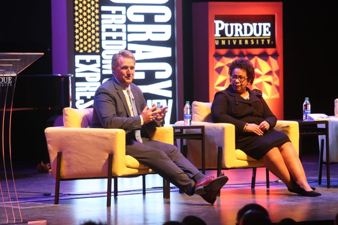 "Former U.S. Sen. Jeff Flake and Loretta Lynch, 83rd U.S. attorney general, during ""Democracy, Civility, and Freedom of Expression"" at Purdue University's Loeb Playhouse on Jan. 22."