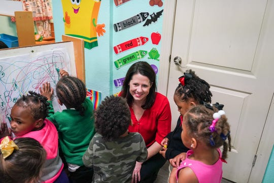 Louisiana education leaders and local policymakers, including state representatives and members of the state Board of Elementary and Secondary Education like Holly Boffy, visit Close to Home Daycare and other early childhood education sites in Lafayette Parish to observe classrooms Thursday, Jan. 23, 2020.