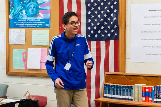 8th grader Ali Habib reacts to being named Lafayette Parish School System Student of the Year.  Thursday, Jan. 23, 2020.