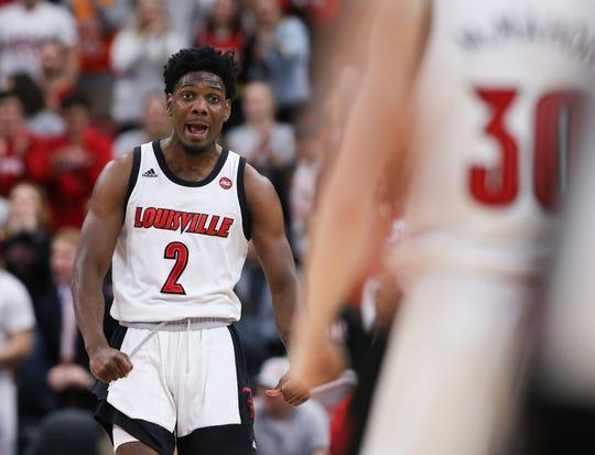 Darius Perry cheers as Louisville rips off a run in the second half vs. Georgia Tech.