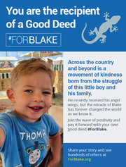 East Lansing native Rob Davis said his son Blake's diagnosis of pulmonary hypertension at age 1 and his death in December of 2018 inspired a kindness movement. People in 24 states and several countries have carried out random acts of kindness in honor of Blake.
