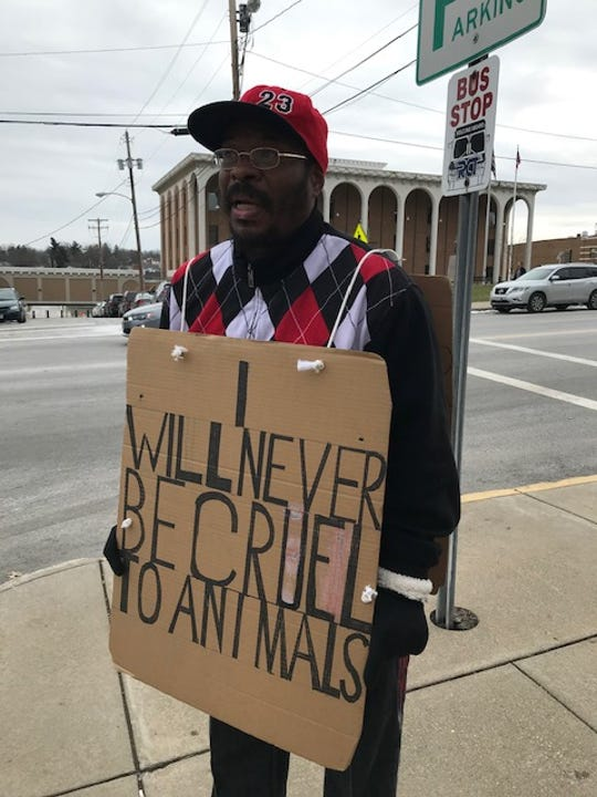 Gerald Galloway of Mansfield chose the option of wearing this sign for three hours after an animal cruelty charge was amended to disorderly conduct. Mansfield Municipal Court Judge Frank Ardis Jr. offered up several options for Galloway's sentence.