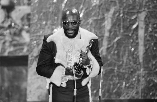 "Isaac Hayes thanked his grandmother when from the stage when he won his Oscar for ""Theme from Shaft."""