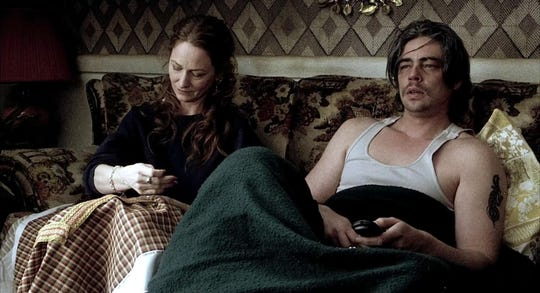 "Benicio del Toro (seen here in the film with Melissa Leo) earned a Best Supporting Actor Oscar nomination for the made-in-Memphis ""21 Grams."""