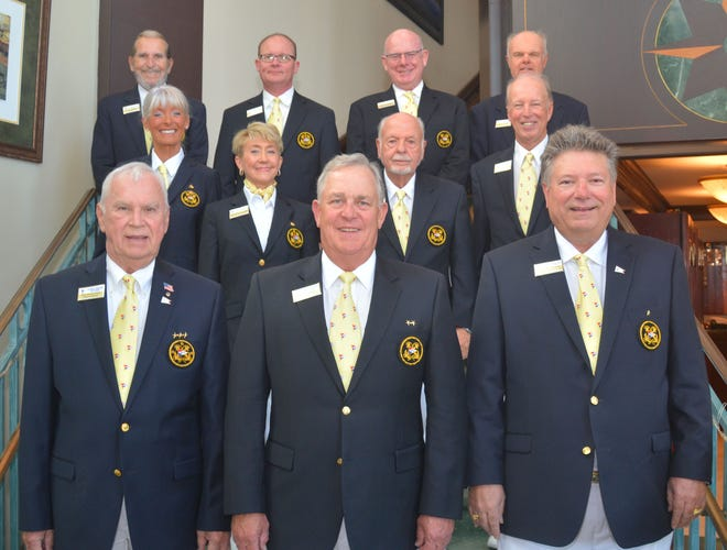 The 2020 Marco Island Yacht Club Bridge Officers are, from left, front: Commodore Ray Rosenberg, Vice Commodore Geoff Walker and Rear Commodore Tom Wentworth; second row: Sail Fleet Captain Dwyn von Bereghy, Recording Secretary Dr. Shelly Derrough, Port Captain Henry Stanley and Chaplain Alan Sandlin; back: Quartermaster Lee Dorison, Fleet Surgeon Dr. David Randell, Safety and Training Officer Trevor Haworth and Power Fleet Captain Pete Frazier.