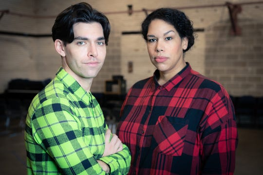"""Matt Rodin and Bethany Thomas playing leading roles in Milwaukee Repertory Theater's production of """"Hedwig and the Angry Inch."""""""