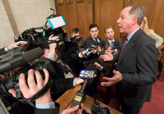 Assembly Speaker Robin Vos, R-Rochester, speaks to reporters after Gov. Tony Evers delivered his State of the State address at the Capitol in Madison in January.