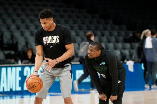 After exploring Paris, Bucks players get back together on the practice court. Remember, there's a game to play.