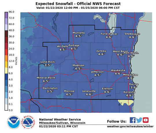 Almost continuous snow during the next few days could total 3 to 6 inches by Saturday.