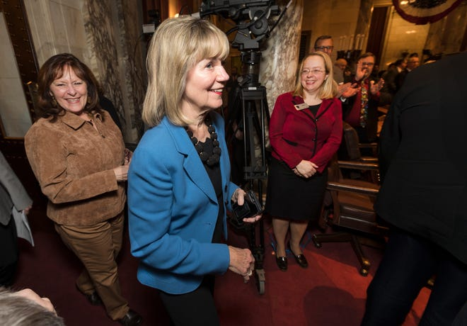 State Sen. Alberta Darling, R-River Hills, arrives before Gov. Tony Evers delivers his State of the State address at the Capitol in Madison in January 2020.
