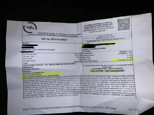 Former Colombia Expreso customers said they received fake receipts noting their transactions had been fulfilled.