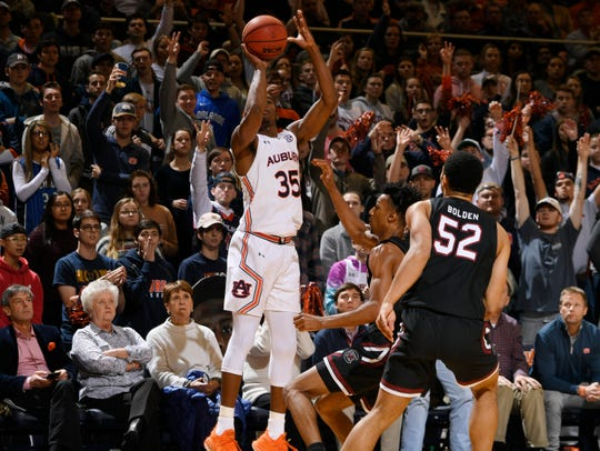 Auburn guard Devan Cambridge (35) shoots a 3 against South Carolina on Wednesday, Jan. 22, 2020 in Auburn, Ala.