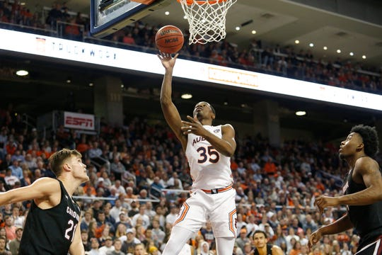 Auburn guard Devan Cambridge (35) takes a shot against South Carolina during the second half at Auburn Arena on Jan. 22, 2020.