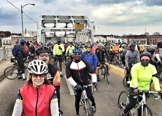 Cyclists on the Edmund Pettus Bridge during the 50th anniversary of the Selma to Montgomery march