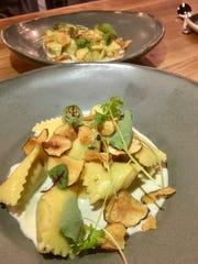 Sweet tooth mushroom and snail ravioli with mini potato crisps at Saint Stephen.
