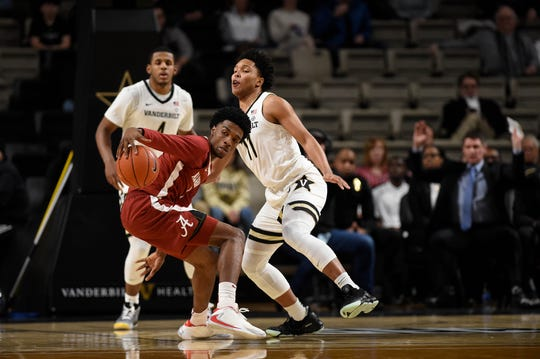 Players face off during the first half at Memorial Gym Wednesday, Jan. 22, 2020 in Nashville, Tenn.