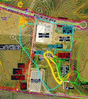 Proposed watershed map of storm water management area of Gallatin Industrial Center Phase 2.