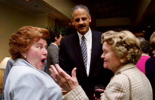 Jean Litterer, left, reacts to a comment from Stedman Graham as she talks to Hortense Cooper at the Crittenton Services 125th Anniversary Celebration May 10, 1999.