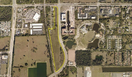 The area outlined in yellow, south of Corkscrew Road and west of Via Coconut Point, is where a residential and commercial project is planned in Estero.