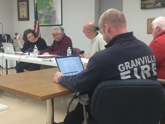 Clockwise, Granville Township Trustees Bryn Bird, Kevin Bennett and Rob Schaadt, Travis Binckley and Fire Chief Casey Curtis on Jan. 22.