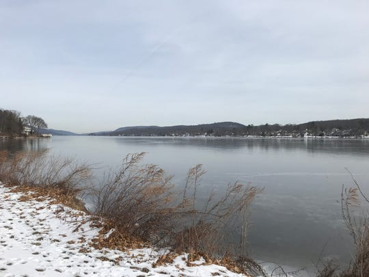 The view north from Brown's Point is of a Greenwood Lake covered in ice on Jan. 23, 2020.