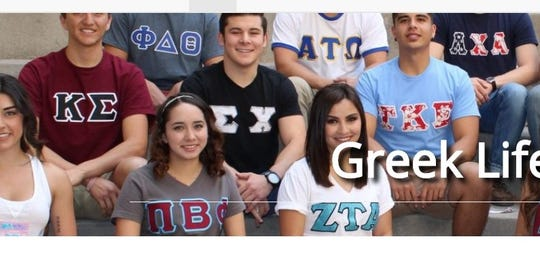 "In this screenshot from New Mexico State University's ""Greek Life"" webpage, providing information about student fraternities and sororities, a student at left is seen wearing the Kappa Sigma logo on a red T-shirt although references to the fraternity have been removed from the website. Screenshot taken Wednesday, Jan. 22, 2020."