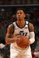 Rayjon Tucker of the Utah Jazz shoots a free throw against the New Orleans Pelicans on Jan. 16 in New Orleans. Tucker began the season with the Wisconsin Herd in the Milwaukee Bucks organization.