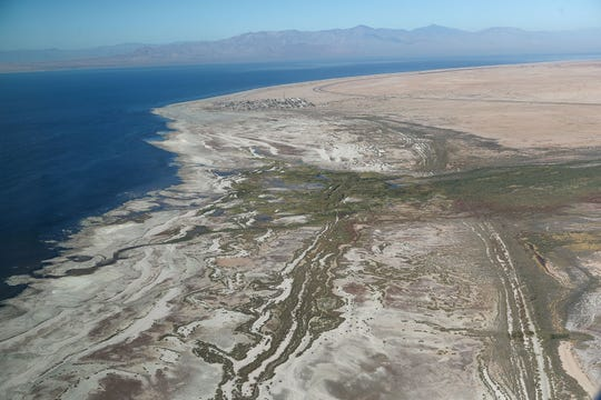 Natural wetlands cover a portion of the Salton Sea's eastern shoreline just south of Bombay Beach, top center, in this aerial photograph, October 19, 2019.