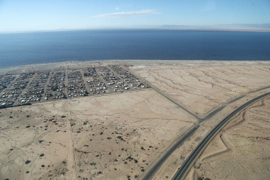 The Salton Sea shoreline slowly recedes away from the small community of Bombay Beach near Highway 86 on the sea's eastern shore in this aerial photograph, October 19, 2019.