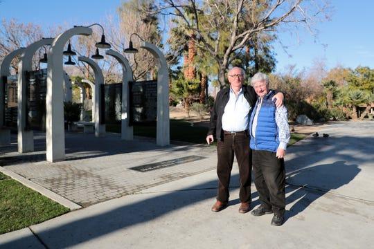 Steven Geiger, founder of Mensch International Foundation, and Holocaust survivor Henry Friedman stand near the Desert Holocaust Memorial in Palm Desert, Calif. on Thursday, Jan. 23, 2020.