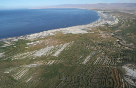 Man made trenches help mitigate dust at the southern end of the Salton Sea, in this aerial photograph, October 19, 2019.