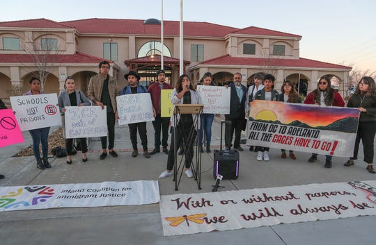 Lizbeth Abeln, center, speaks against converting the Desert View Correctional Facility into an Immigration and Customs Enforcement detention facility at Adelanto City Hall, January 22, 2020.