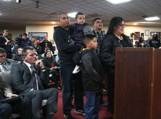 A GEO Group employee and her family speak in favor of turning the Desert View Correctional Facility into an Immigration and Customs Enforcement detention facility during an Adelanto Planning Commission meeting on  Jan. 22, 2020.