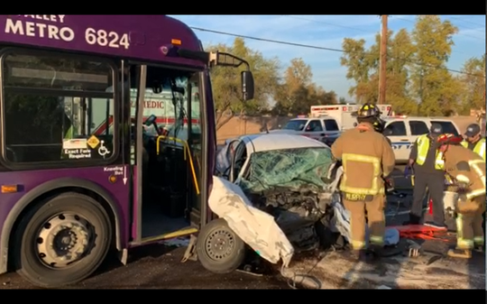 A crash involving a Valley Metro bus and a car happened in Mesa on Jan. 22, 2020.