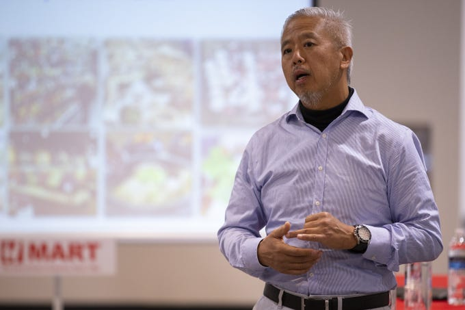 H Mart Executive Director Sam Kim speaks about the Asian supermarket's new Mesa location on Jan. 22, 2020.