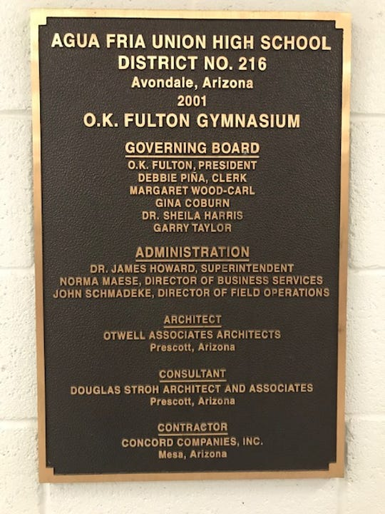 Dedication plaque in honor of naming Agua Fria gym in honor of Arizona basketball coaching legend O.K. Fulton.