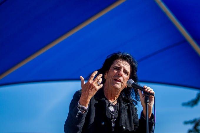 Alice Cooper announces a new Solid Rock Teen Center in Mesa during an event at Westwood High School on Jan. 22, 2020.