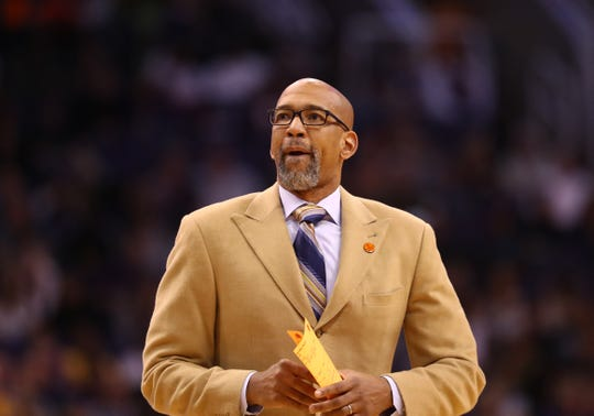 Jan 22, 2020; Phoenix, Arizona, USA; Phoenix Suns head coach Monty Williams reacts against the Indiana Pacers in the first half at Talking Stick Resort Arena. Mandatory Credit: Mark J. Rebilas-USA TODAY Sports
