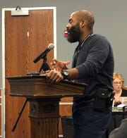 York City School Police Chief Michael Muldrow explains the Juvenile Violence Truancy Initiative, a program aimed at curbing the city's juvenile crime problem, on Wednesday, Jan. 22, 2020.