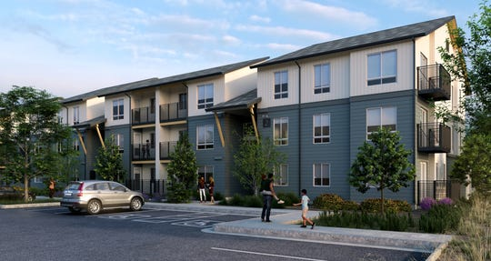 Renders of Westlook Resort Living Apartments on Reno's West Fourth Street.