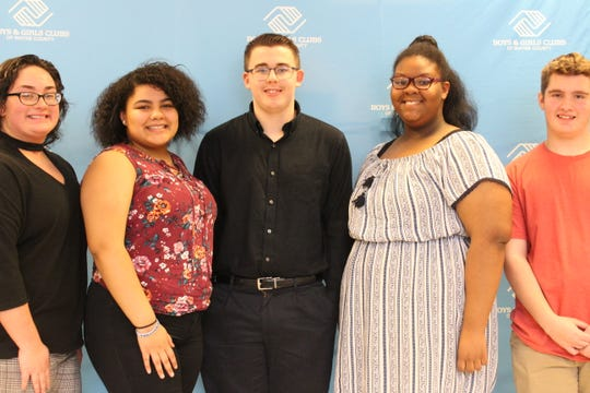 Candidates for the Boys & Girls Clubs of Wayne County Youth of the Year award were (from left) Morgan Burk, Natalia Hampton, Wesley Phillips, Mika Parks and Michael Fioto. Phillips was selected for the 2020 award.