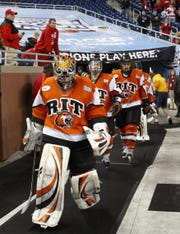 RIT takes the ice for their  NCAA Frozen Four semifinal hockey game against Wisconsin at Ford Field in Detroit, Michigan Thursday evening, April 8, 2010.