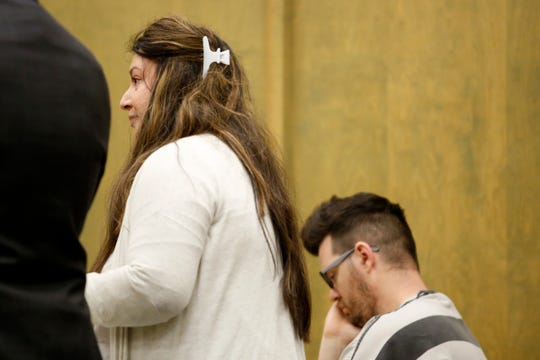 Jessica Patten gives a statement in support of her husband, Brian Patten, 37, of West Salem, during a sentencing at the Polk County Courthouse in Dallas on Jan. 23, 2020. Patten was sentenced to 15 years in prison for shaking their infant son, which permanently injured the child and required surgery.