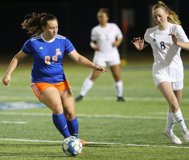 San Angelo Central High School's Averi Handy maintains possession against Midland High at the San Angelo Sports Complex/Old Bobcat Field on Wednesday, Jan. 22, 2020.