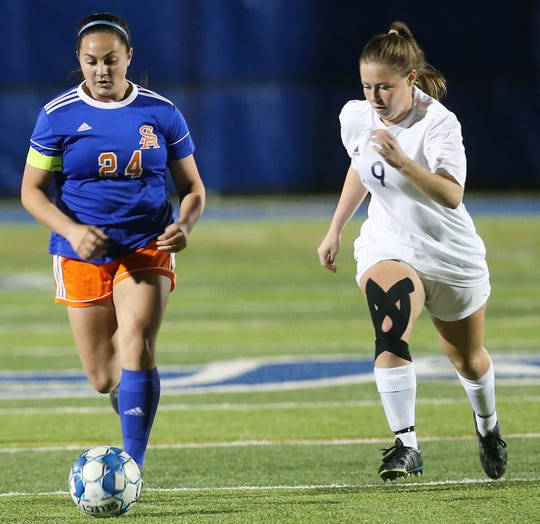 San Angelo Central High School's Madison Sharp, left, tries to keep the ball away from Midland High at the San Angelo Sports Complex/Old Bobcat Field on Wednesday, Jan. 22, 2020.