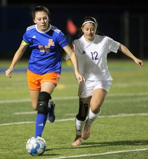 San Angelo Central High School's Kieryn Moffat, 25, maintains possession against Midland High at the San Angelo Sports Complex/Old Bobcat Field on Wednesday, Jan. 22, 2020.