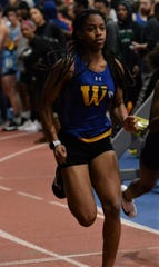 Wicomico track runner Aaliyah Harris competes in the girls 55-meter dash on Wednesday, Jan. 15, 2020.