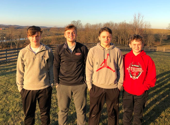 The Dunlap brothers were all part of the Riverheads football team this season. From left, Bennett, Elijah and Isaiah all played on the varsity team, while Levi was the team's ball boy.